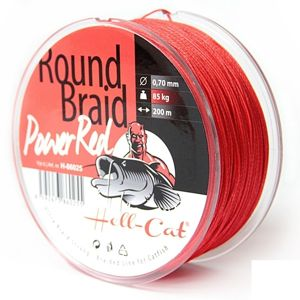 Hell-Cat Splétaná šňůra Round Braid Power Red 200m - 0,50mm